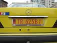 Taxi plate (old style). TR = Tiranë