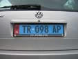 Temporary plate (old style). TR = Tiranë