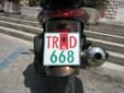 Motorcycle plate (old style, possibly an unofficial remake). TR = Tiranë