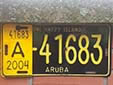 Normal plate. A = private vehicle<br>The yellow 'control plate' on the left, indicates that taxes have been<br>paid until the end of 2004 (payable per year, half-year or quarter).
