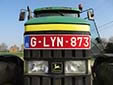 Agricultural and forestry vehicle's plate. Vehicles with<br>these red 'G-plates' are allowed to use 'red diesel'.