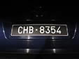 Plate for official vehicles belonging to SHAPE<br>(Supreme Headquarters Allied Powers Europe).<br>CHB = Casteau, Hainault, Belgique
