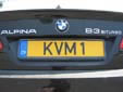 Normal plate (rear, old style). Note that KVM1 is used and not KVM001
