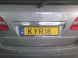 Normal plate (rear, old style). Note that KYR18 is used and not KYR018
