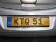 Normal plate (rear, old style). Note that KTQ51 is used and not KTQ051