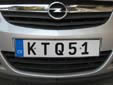 Normal plate (front, old style). Note that KTQ51 is used and not KTQ051