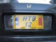 Temporary plate (rear). Note that HTB12 is used and not HTB012