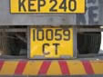 Trailer plate (old style). CT = trailer. Above this plate is a normal plate,<br>in this case a repeater plate of the pulling vehicle