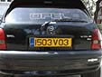 Visitor plate (rear). V = visitor. 03 = registered in 2003<br>Submitted by Martin Šarlina from Slovakia