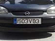 Visitor plate (front). V = visitor. 03 = registered in 2003<br>Submitted by Martin Šarlina from Slovakia