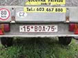 Plate for small rental trailers (old style). BO = Okres Brno-venkov (Brno-Country District)