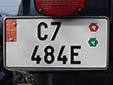 American size export plate. Valid until the end of November 2009.<br>C = Jihočeský kraj (České Budějovice region). E = Export<br>Submitted by Martin Šarlina from Slovakia
