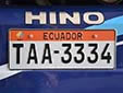 Bus plate. T = Tungurahua Province. A (first) and orange band = taxis and buses<br>Submitted by Julie Huizinga from the Netherlands