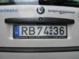 Police vehicle's plate. RB = Rendőrség (Hungarian state police)