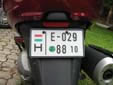 Temporary motorcycle plate; valid until<br>the end of 2010. E = temporary