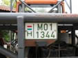 Agricultural vehicle's plate (old style). M = agricultural vehicle