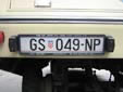 Plate for national park vehicles. GS = Gospic<br>NP = Nacionalni Park (National Park)