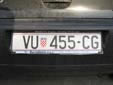 Normal plate (old style). VU = Vukovar