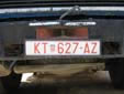 Abnormal vehicle's plate (old style). KT = Kutina