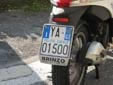 Police motorcycle plate. Polizia Locale = Local Police<br>GE = Genova. 10 = First registerd in 2010