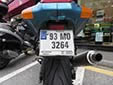Motorcycle plate. 93 = first registered in 1993<br>MO = Mayo (Maigh Eo)