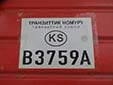Transit plate (old style) with the former country code 'KS'. B = Bishkek