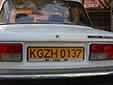 Foreign owned vehicle's plate. KG = Kyrgyzstan<br>Z = Osh province. H = foreign resident