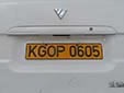 Foreign owned vehicle's plate. KG = Kyrgyzstan<br>O = Osh. P = registration for more than six months