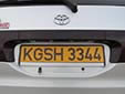 Foreign owned vehicle's plate. KG = Kyrgyzstan<br>S = Chuy province. H = foreign resident