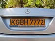Foreign owned vehicle's plate. KG = Kyrgyzstan<br>B = Bishkek. H = foreign resident