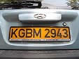 Foreign owned vehicle's plate. KG = Kyrgyzstan<br>B = Bishkek. M = foreign company
