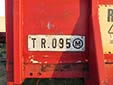 Trailer plate (old style). TR = trailer