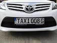 Taxi plate. TAXI G = Gozo taxi