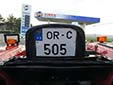 Agricultural and construction vehicle's plate (old style). OR = Orhei