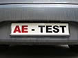 Test plate. AE = Auto Expert. These plates are<br>used for test drives by <i>Auto Expert</i> magazine.