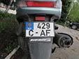 Motorcycle plate (old style). C = Chișinău