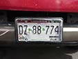 Truck plate (front, 2012 series) from the State of Chihuahua<br>Delantera = front. Camión = truck