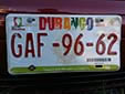 Normal plate (front, 2009 series) from the State of Durango. Delantera = front<br>Submitted by Cesar A. Bermudez from Mexico
