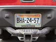 Border zone plate (rear, 2010 series) from the State of Baja California<br>Fronteriza (behind the frame) = border zone. Trasera = rear