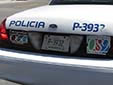 Police vehicle's plate (rear) from the State of Baja California<br>P = Policia. BC = Baja California. Trasera = rear