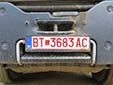 Abnormal vehicle's plate (over 40 tons). BT / БТ = Bitola