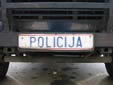 Police vehicle's plate (old style, front). POLICIJA = POLICE