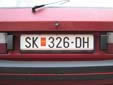 Normal plate (old style). SK = Skopje<br>PM = Република Македонија (Republic of Macedonia)