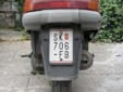 Moped plate (old style). SK = Skopje<br>PM = Република Македонија (Republic of Macedonia)