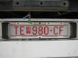 Abnormal vehicle's plate (old style; over 40 tons). TE = Tetevo