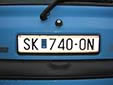 Normal plate (old style) with an unofficial MK sticker. SK = Skopje
