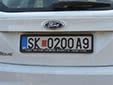 Temporary plate for foreigners (letter + 9 at the end). SK / СК = Skopje