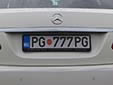 Personalized plate. PG = Podgorica