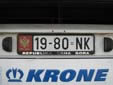 Trailer plate (old style) from the former Republic<br>of Serbia and Montenegro. NK = Nikšić