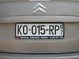 Temporary plate (old style) from the former Republic<br>of Serbia and Montenegro. KO = Kotor<br>RP = temporary. 07 = valid in 2007